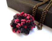 Hot neon pink and black bouquet flowers pendant necklace - antique bronze chain