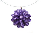 Large Flower Necklace. Deep Purple Flower Pendant Necklace. Polymer Clay Handcrafted Flower.