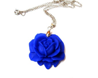 Rose Necklace. Polymer Clay Flower. Sapphire Blue Flower. Wedding Jewelry. Bridesmaid Gift. Flowergirl Gift. Trendy Jewelry. Something Blue