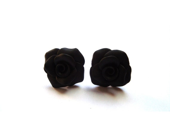 Black Rose Studs. Rose Earrings. Flower Earrings. Black Floral Post Earrings. Bridesmaid Gifts. Flowergirl Gift. Black Jewelry Earrings