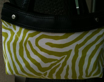 Waverly Lime Green Zebra skirt purse cover handmade