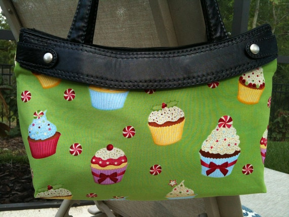 Holiday Cupcakes Purse Skirt cover handmade