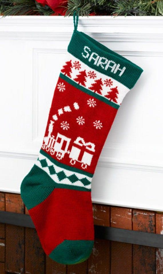 Wool Christmas Stocking Train Personalized