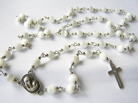 """UNISEX glass-beaded rosary handmade of """"cat eye"""" white beads ending with metal cross"""