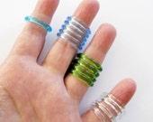 Acrylic Rings 14 Blue Green Clear STR190