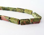 "Natural Unakite Rectangle Tube Beads Gemstone 15 1/2"" STR231 - StrumAndSparkle"