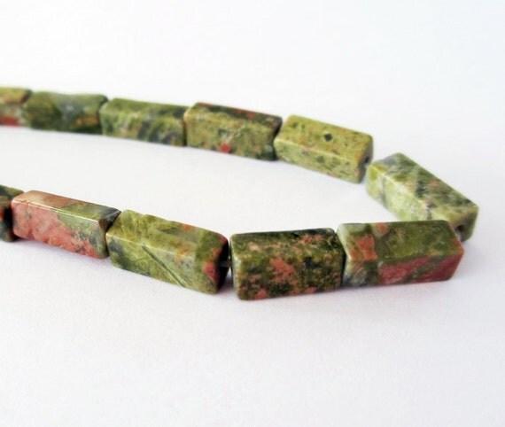 Reserved for Karen  Natural Unakite Rectangle Tube Beads Gemstone 17 STR231
