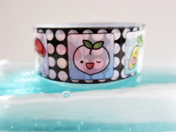 Deco Tape Kawaii  Vegetable Faces Black White Polka Dots