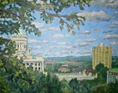 Oil on linen landscape painting titled Providence Capitol 14x16