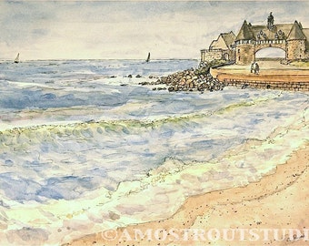 Fine art giclee print scenic beach art landscape of architecture Narragansett Tide Rising, Rhode Island signed and dated by artist 8.5x11
