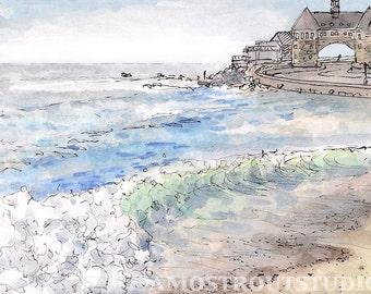 Green waves crashing on Narragansett beach, fine art original landscape art print gift 8.5x11