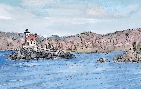 Original landscape painting fine art: Pomham Rocks Lighthouse, Rhode Island 9x11