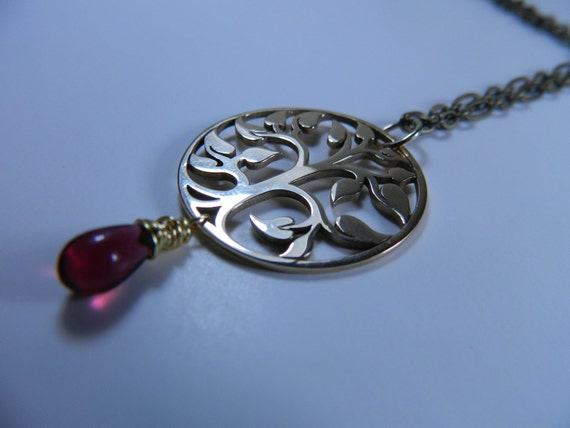 """24K Gold """"Tree of Life"""" Pendant Necklace with Merlot Teardrop Czech Glass Bead on Natural Brass Chain"""