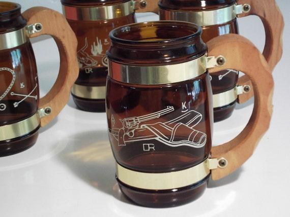 Vintage Siesta Ware Glasses/ Mugs.  Set of 4. Western Cowboy Theme. MINT Condtion