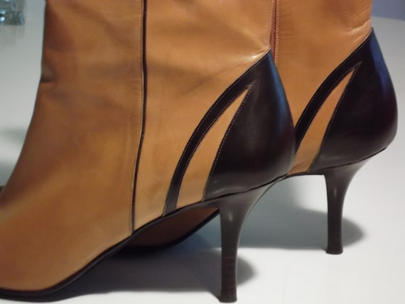 Vintage Leather Boots Cole Haan Beautiful Condition Butter Leather Caramel and Brown Heels.