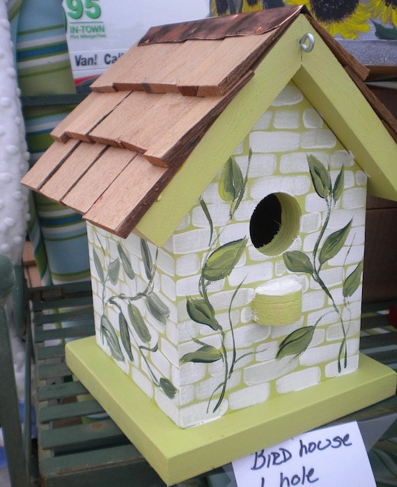 Items Similar To Vines Hand Painted Bird House On Etsy