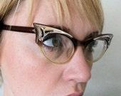 Vintage 50's Amber Fade Bat Wing Cat Eyeglasses