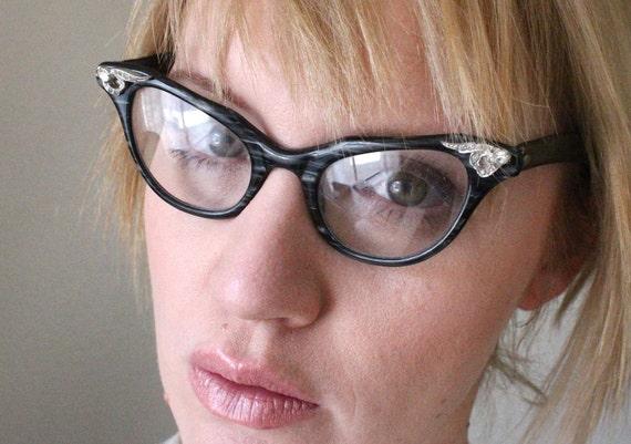 RESERVED ITEM Vintage 50's Black Liberty Cat Eye Rhinestone Eyeglasses Frames