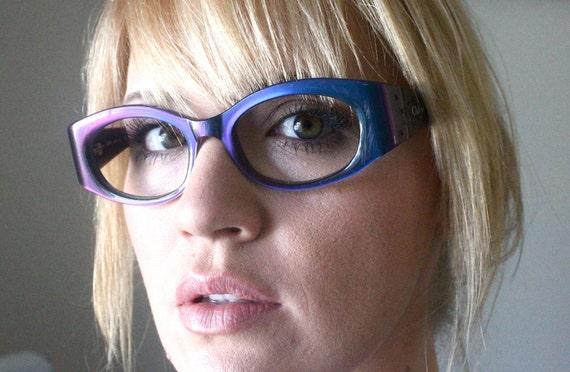 Vintage Iridescent Blue Italian Chloe Cat Eyeglasses