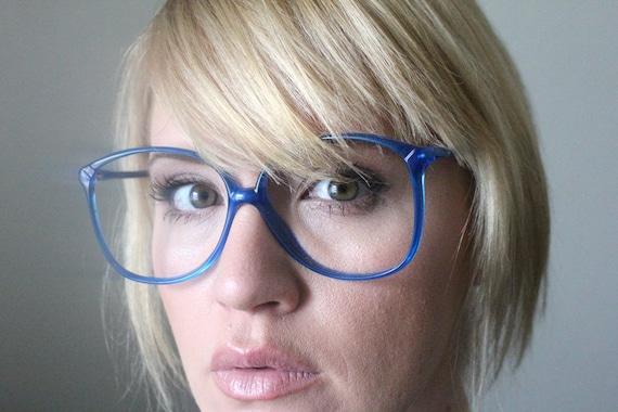 Bright Blue Glasses Frames : Vintage 80s Bright Blue Oversized Eyeglass Frames