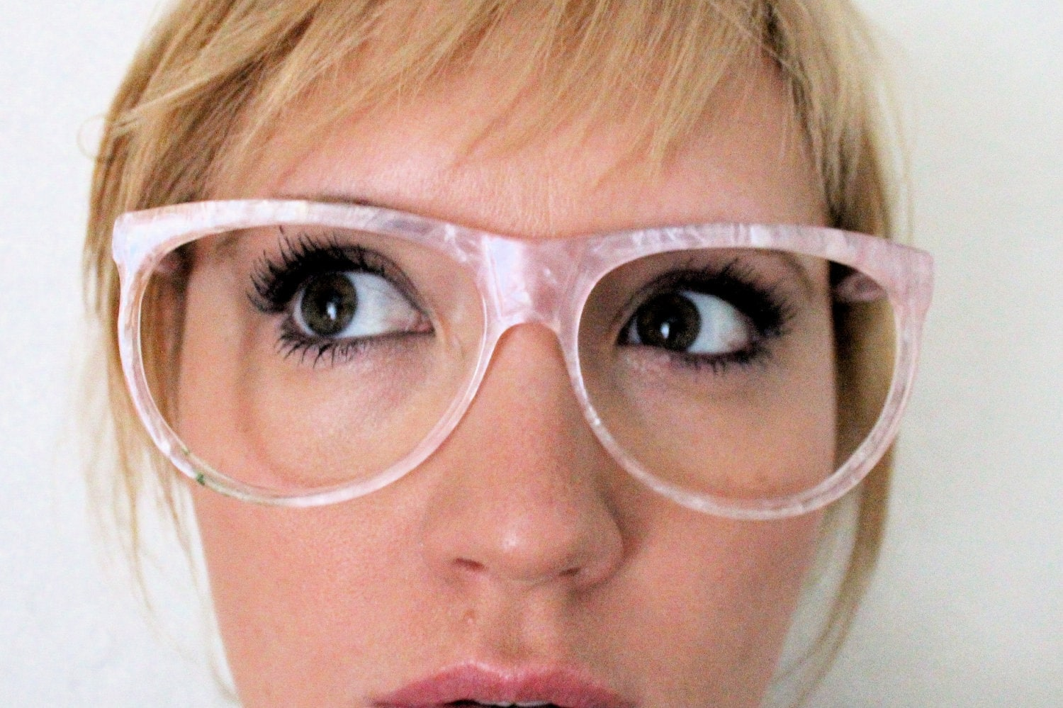 Glasses Frames For Big Face : Vintage 80s Oversized Baby Pink Eyeglasses frames