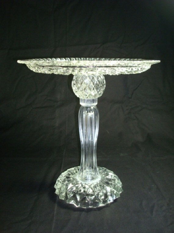 Cake Stand 13 Inch Pedestal Stand Made With Re Purposed Glass