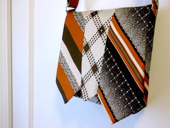 Handmade Necktie Purse Bag - Brown and Orange