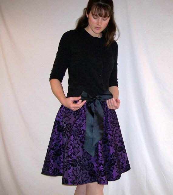 RESERVED Purple Tafetta Skirt Drawstring with Velvet Scroll