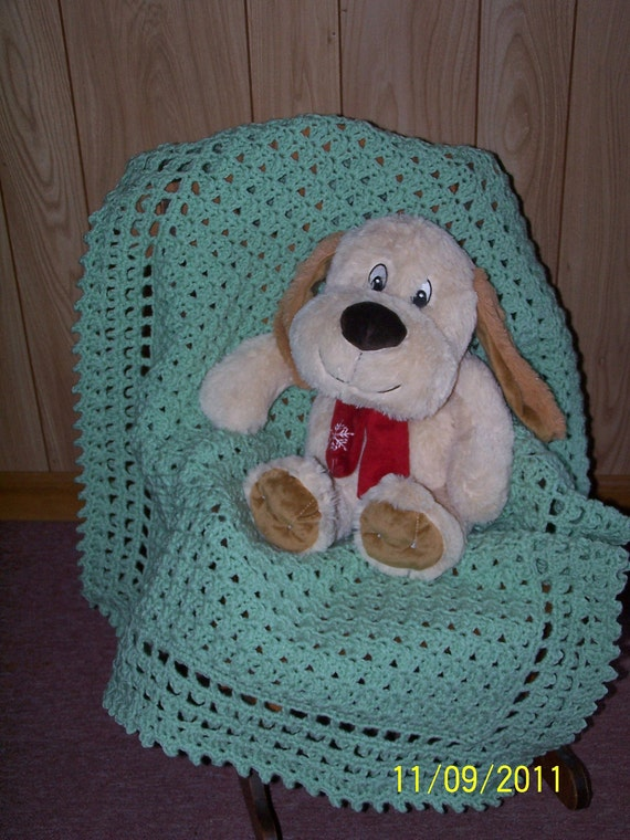 Victorian Light Green Baby Nursery Blanket, Crib Blanket, Bassinet Blanket, Stroller Blanket,