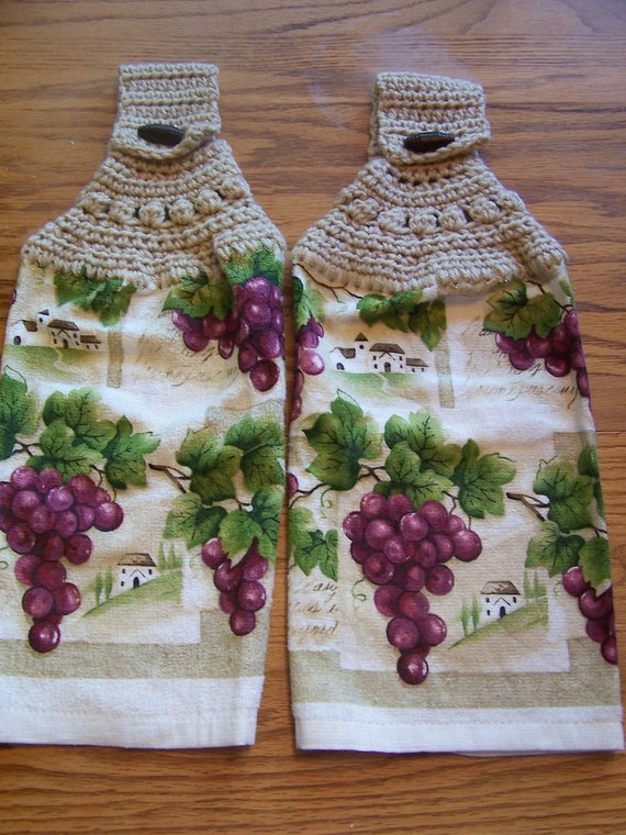 Grapes Hanging Kitchen Towels, Hanging Kitchen Towels, Crocheted Top Towels, Home Decor, Kitchen Towels,