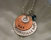 Wonderfully Made Autism Awareness Handstamped Custom Necklace