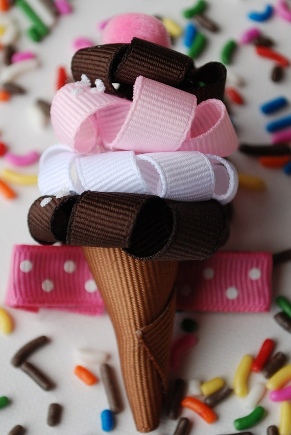 Ice Cream Cone Hair Ribbon Handmade Boutique Bow Hair Clip