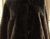 AWESOME faux fur- sable brown patterned  reversable, full length coat with decorative buttons.