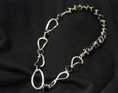 Fine Silver Black and White  Jasper Necklace