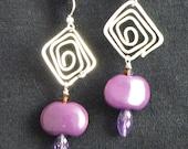 Purple Kazuri & Amethyst Sterling Earrings