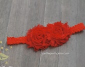Gorgeous Duo Frayed Chiffon Red Flowers on Red Lace Headband.