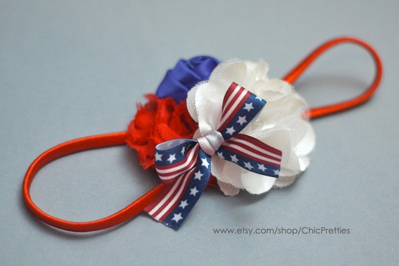 Fourth Of July Colors Baby Headband on Skinny Red Headband. Pick your size.
