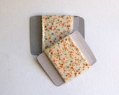 autumn floral cream brown white vintage fabric ribbon babyshower supply - set of 2