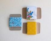 summer vintage fabric ribbon, blue, white, yellow, pink, baby shower gift wrap, DIY garland supplies - set of 3