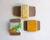 eco friendly fabric ribbon, recycled vintage fabric mustard yellow, retro set of 3