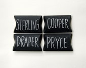 pillow box, madmen, party, sterling, cooper, draper, pryce,1960s, white, black chalkboard personalize writable surface gift - set of 4