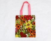 floral bag, small tote bag, retro floral fabric, floral tote, fabric tote bag, eco friendly bag,  vintage inspired, greenbugmarketplace