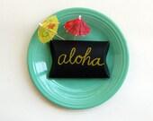 luau hawaiian summer aloha backyard bbq party table decor, island, beach, pineapple, palm trees, black chalkboard giftbox - set of 2