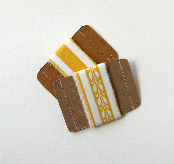yellow fabric ribbon, yellow ribbon, mustard yellow, hand torn ribbon, frayed ribbon, gift wrap supplies, holiday ribbon supply, set of 2