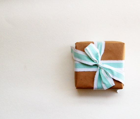 fabric ribbon, mint gift packaging, gift wrap, green fabric ribbon, holiday ribbon, christmas gift wrap ribbon, striped ribbon - set of 4