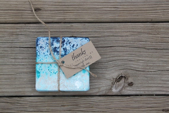 ombre washed tumbled stone coasters hostess gift rustic favor house warming thank you gift