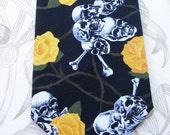 BKool Necktie, Skulls n Roses on Black, Handmade Mens Ties, Black n Yellow