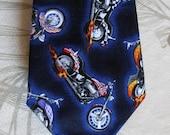 BKool Badass Motorcycles Necktie, Handmade Mens Ties, Black n Blue