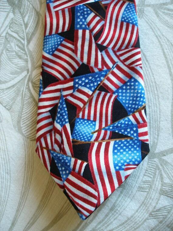 RESERVED FOR SCOTYJOCK.....BKool American Flags Necktie, Handmade Mens Ties, Black n Flags