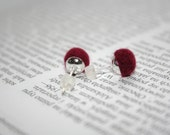 Raspberry pink earrings/ needle felted ball studs